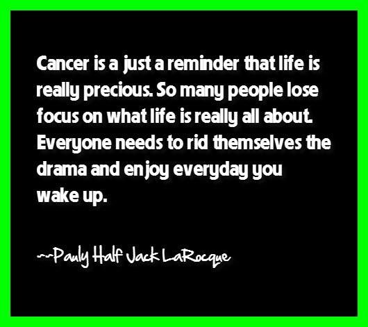 "Cancer Survivor Quotes:  ""Cancer is just a reminder that life really is precious. So many people lose focus on what life is really all about. Everyone needs to rid themselves of drama and enjoy everyday you wake up."" ~Pauly Half Jack LaRocque (Hodgkin's Lymphoma Survivor since 1978)"