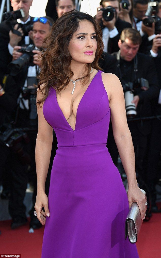 Turning heads: Salma stunned in her jewel-hued dress, which showed off an ample amount of ...