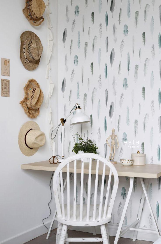 wallpaper Feathers Gray light pastel mint green and light cream beige 138894 #behang #veren #bohemian #ibiza #bureau #office #vtwonen #interior #interieur #tapete #beach #pastel