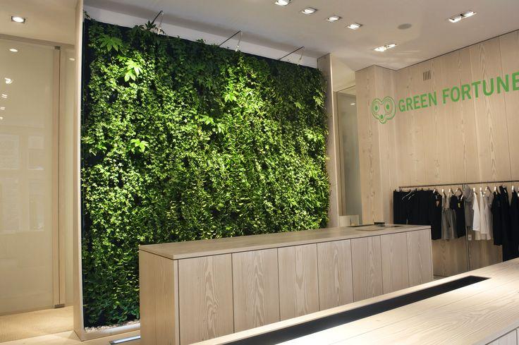 Green Fortune Plantwall / vertical garden in retail space.
