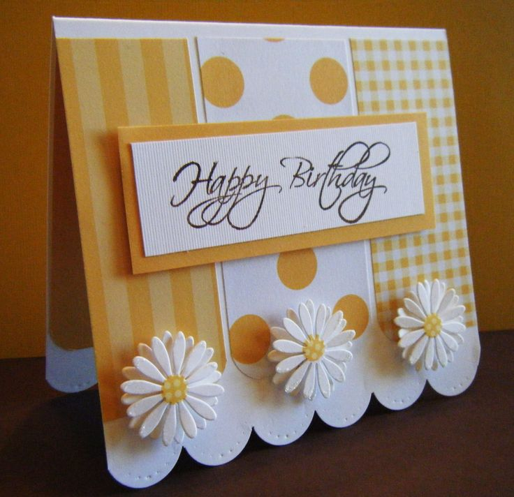 lots of color optionsHandmade Birthday Cards, Cards Ideas, Cleaning Simple, Scrapbook Com, Pattern Paper, Cards Birthday, Paper Scrap, Daisies, Happy Birthday Cards