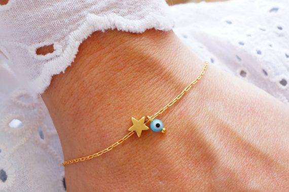 Star Bracelet - Turquoise Evil Eye Bracelet - Matte Gold Star Bracelet - Lucky Charm Bracelet - Bridesmaid Gift (Also in Silver) by minifabo