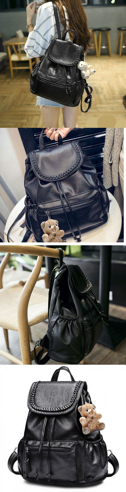 New Fashion Bear Doll Travel College Backpack Leisure Weave Black PU Rucksack backpack for women work,backpack for women travel,backpack for women fashion,backpack for women fashion style,backpack for women fashion travel,backpack for women college,backpack for college,backpack for college women,backpack for college women laptop bags,backpack for college women book bags,backpack for college women laptops,backpack for college women casual