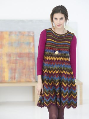 Knit this chevron-striped dress if you love stripes and want to try a new way to wear your favorite pattern.