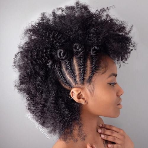 Natural Hair Braided Mohawk With Bantu Knots