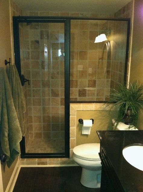 Best idea ever for small, standard-issue bathrooms. tear out that tub and the filthy textured-glass sliding panels and replace with a glass-enclosed walk-in shower. Awesome. #smallbathroomremodeling