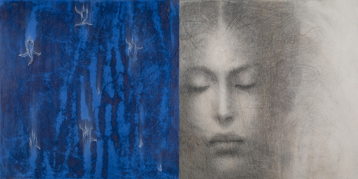 Omar Galliani Kumarakon II Pencil, blue pigment & white pastel on poplar wood 40 x 80 cm (Diptych) available at 3A The Excellence of Art in Mauritius