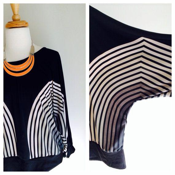 Graphic striped batwing vintage blouse by MrsJoyful on Etsy, $25.00
