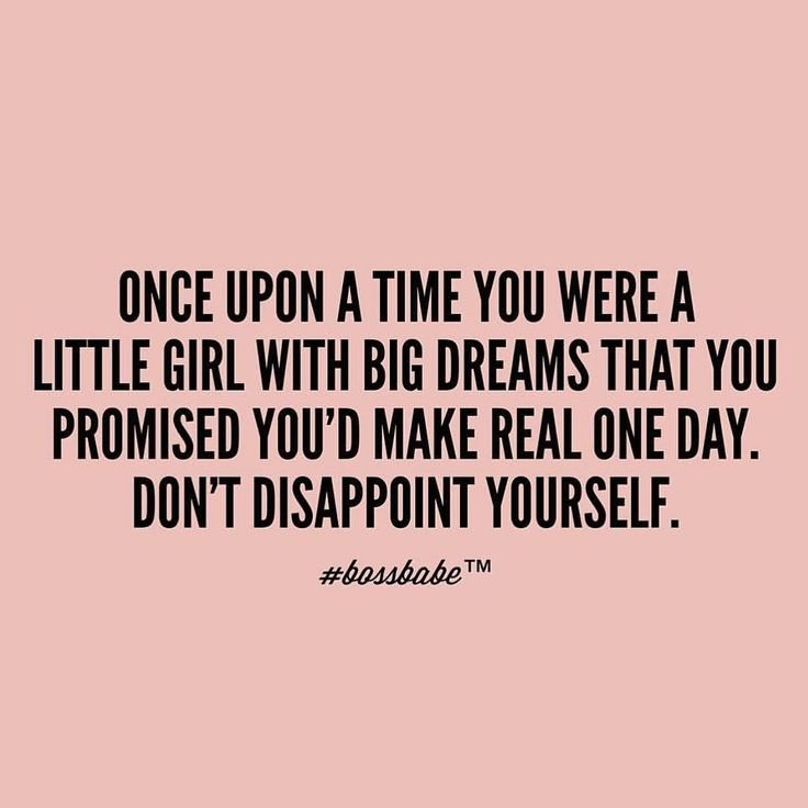 Don't disappoint yourself