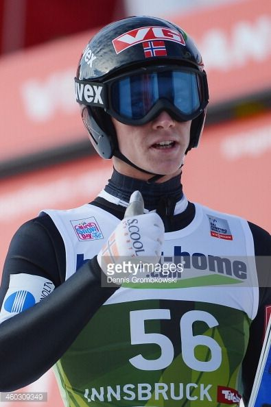 Anders Fannemel of Norway reacts after his qualification jump on day 1 of the Four Hills Tournament event at Bergisel on January 3 2014 in Innsbruck...