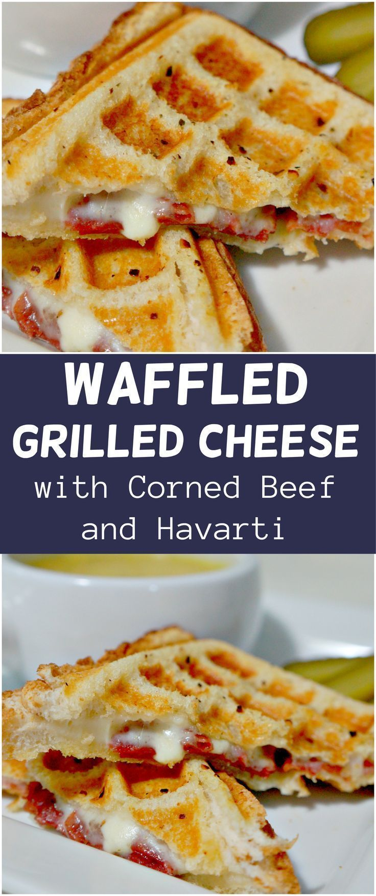 Waffled Grilled Cheese. Grilled cheese sandwich with corned beef and havarti cheese cooked in a waffle maker.