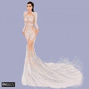 Kim Kardashian at the Met Gala 2015 wearing Cavalli