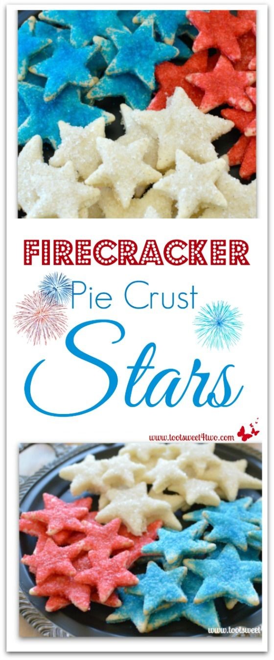 Firecracker Pie Crust Stars - made with store-bought pre-made pie crust dough cut-out with various star-shaped cookie cutters, slathered with butter then liberally sprinkled with colored sugar and baked, these cookies are the perfect sweet/salty combo that's so addicting!  Get this family-favorite recipe at www.tootsweet4two.com!