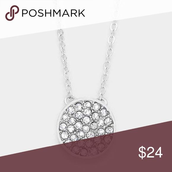 "Pave Today Stellar Crystal Pave Disc Pendant Necklace with Brilliant Clear Crystals & Rhodium Plated. Also have matching earrings listed in my closet, Super Cute Matching Set!    • Necklace Size : 16"" + 2"" L • Pendant Size : 0.5"" X 0.5""   .Ask About Custom Bundles.  .Poshmark Rules Only. No Trades.  .Additional Pics Available as Time Allows. GoodChic Jewelry Necklaces"
