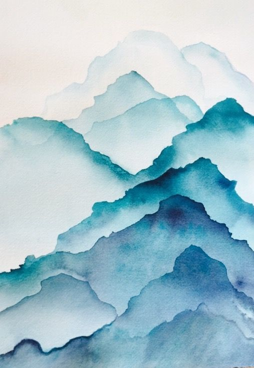 Mountains in Watercolor by Christine Neveaux