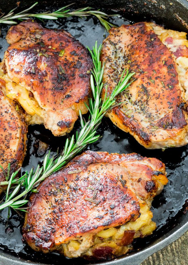 Apple Bacon and Blue Cheese Stuffed Pork Chops