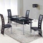 Global Furniture - 5 Piece Rectangular Black Glass Dining Table Set with Metal Legs - D1058NDT-5SET