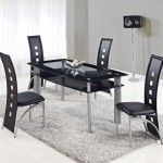 Global Furniture - 5 Piece Rectangular Black Glass Dining Table Set with Metal Legs - D1058NDT-5SET