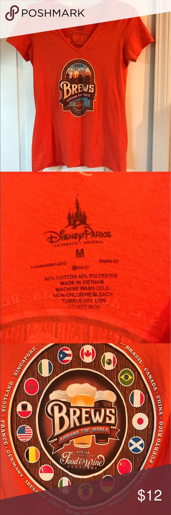 Disney Parks Womens medium Beers of the world fest Sold in the park and nowhere else. Not even online. Gorgeous burnt orange women's brews of the world tshirt from the Epcot food and wine festival. Since most of you probably don't get out to Disney much, this would be a cute addition to the closet of any woman who like Disney, beer, and style. Premier preworn condition. No rips, holes, stains or excess wear. disney parks Tops Tees - Short Sleeve