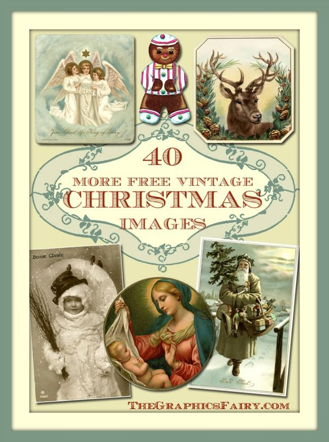 40 Free Christmas Images, so great for making your own Cards, Printables, Tags and a slew of Holiday Crafts!