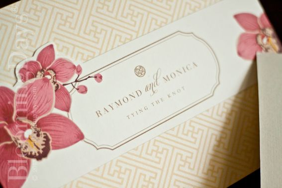 oriental orchid invitation