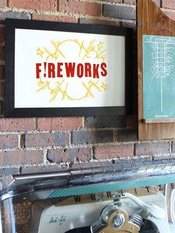 Fireworks // Southern Letterpress Print on 100% Cotton