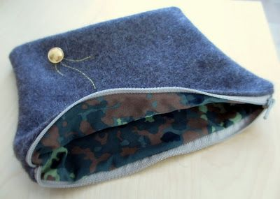 An iPad cover made out of an old army jacket