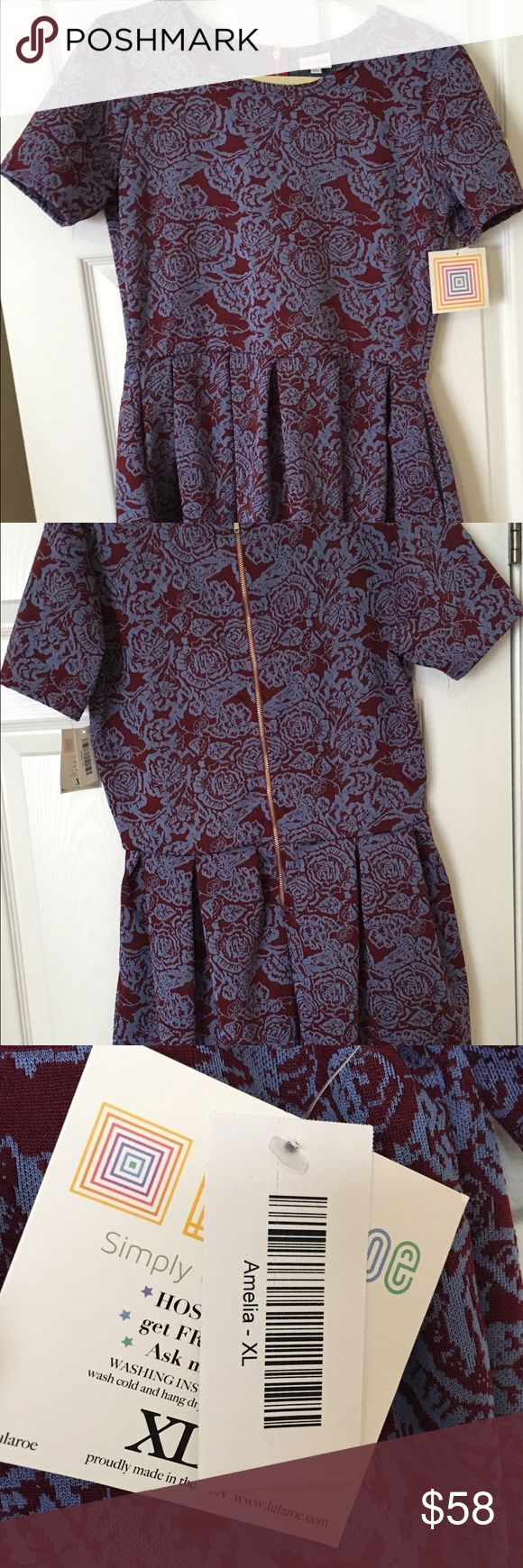 LuLaRoe Amelia Dress Brand new never worn LuLaRoe Amelia dress. It is a beautiful purple and burgundy floral pattern. Size XL. Thank you for taking a look. :) LuLaRoe Dresses