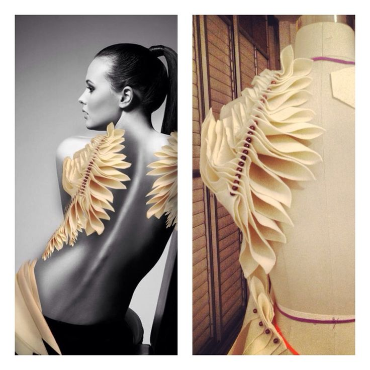 Biomematics nature back fabric manipulation  Hanna Weinberg 2013  reminds me of feathers