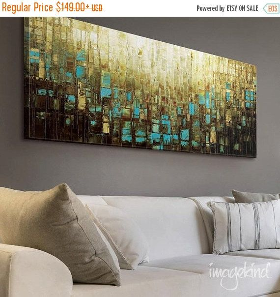 """Modern Wall Decor Large Abstract Wall Art Blue Brown Mid Century Modern Art Prints on Canvas Home Decor- up to 72"""" by Susanna"""