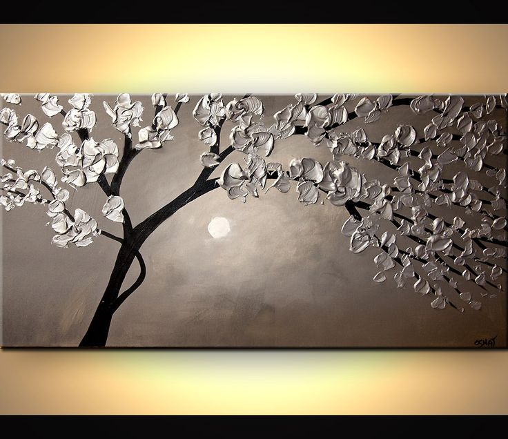 Original abstract art paintings by Osnat - silver blooming tree landscape painting heavy impasto