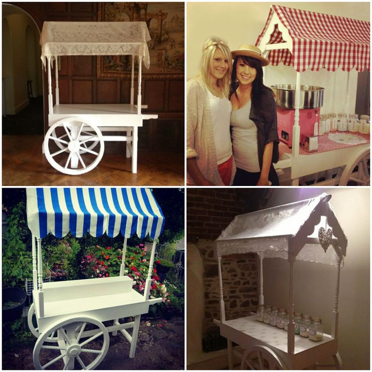 A traditional looking white cart often used at wedding for candy floss or a candy bar. This is plain white allowing you to customise it. We have 5 different changeable canopies for it, red and white large Gingham, pink and white small Gingham, black and white striped, blue and white striped, and champagne. Add you own accessories to really make it yours. Hire for £100.