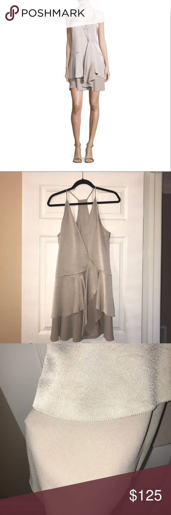 Halston Heritage Stone Wrap Layered Dress Size S NEVER WORN! BRAND NEW! No tags, but is in perfect, retail condition no defects, damages, stains or signs of wear. runs way too big, fits like a M or even a L (thats why its listed as M even though it's a S, listing it as a S would be misleading for the buyer) Im 5'2, 120 pounds, 32D breasts & this was way too big & way too long for me only the breasts were a little snug, I would recommend for people with C cup or smaller. NO TRADES! NO…