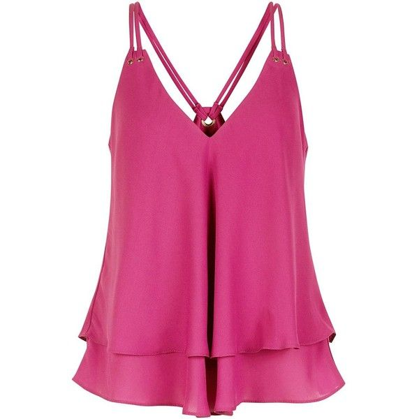 Pink Eyelet V Neck Layered Cami ($27) ❤ liked on Polyvore featuring tops, shell pink, pink top, pink camisole, v neck camisole, layering tank tops y pink tank top
