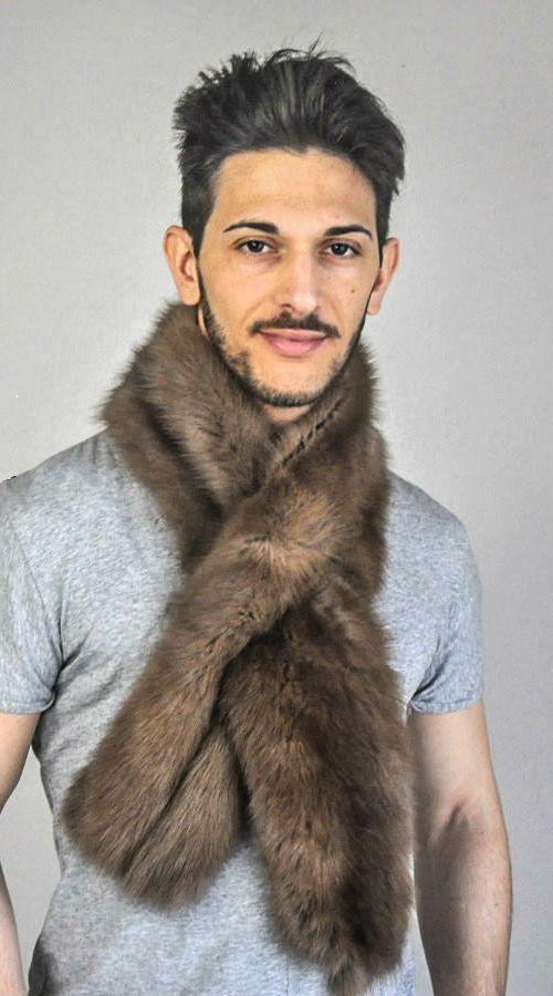 Sciarpa in vera pelliccia di zibellino per uomo  www.amifur.it