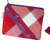 Red and Violet Checkered Pouch with Lace and a Button by Loru