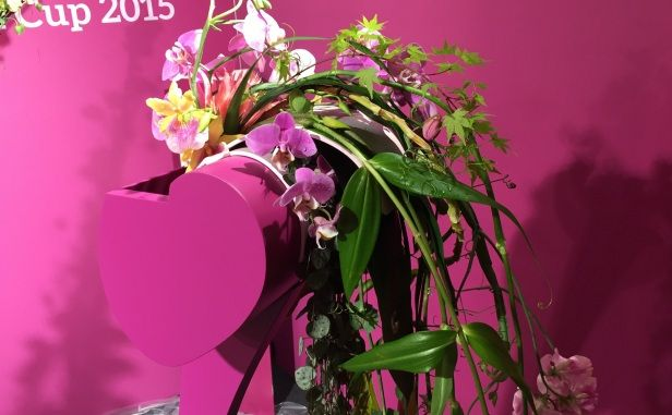 Fleurop - Interflora World Cup Berlin Day 2. Hand tied bouquet by Finland's Contestant Pirjo Koppi. Checkout the making off and interview on www.flowerweb.com...