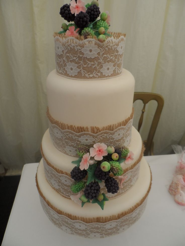 Berries and Blossoms Wedding Cake
