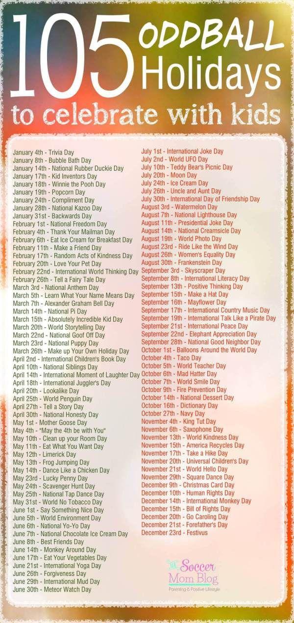 105 Weird and Wacky Holidays to Celebrate with Kids