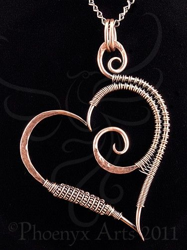 Hammered Copper Heart Pendant & Chain