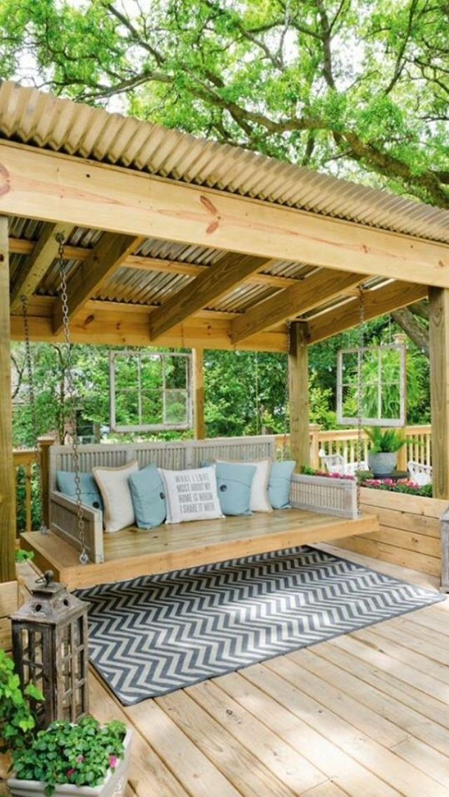 Our Deck Is Freestanding Therefore It Won T Be Connected To The Home Contingent On The Application You May Also Pergola Backyard Patio Backyard Seating Area