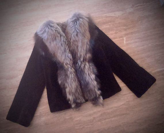 Fur Jacket/ Real fur/Mink fur with fox collar/ black color