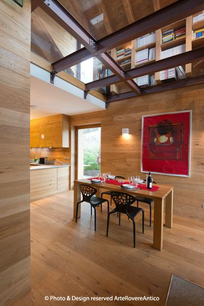 Arte Rovere Antico - Photo by Duilio Beltramone for Sgsm.it - Casa Soppalco Vetro - Sestriere Italy - Wood Interior Design - Glass - Mountain design