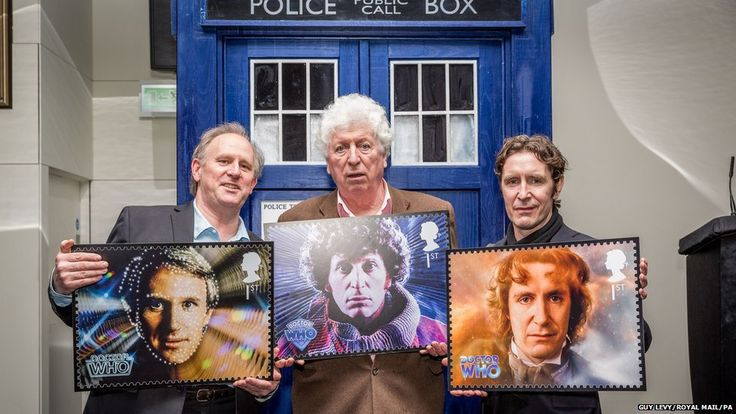 Former Doctors hold their Royal Mail stamps - lovely! Tom Baker, Peter Davison and Paul McGann
