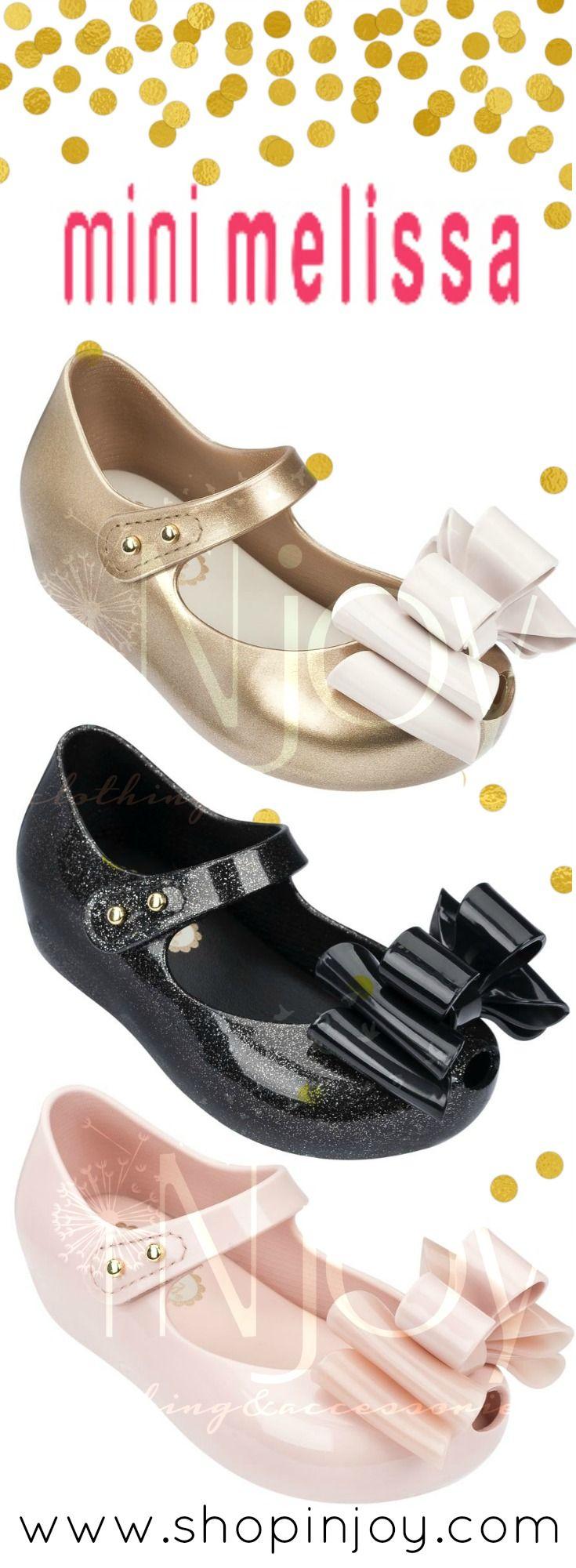 Mini Melissa Ultragirl Sweet III | Pink, Black Glitter & Gold Bow Shoes... COMING OCTOBER 2016