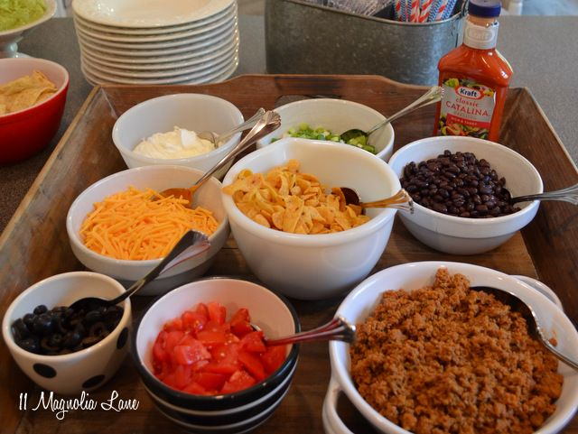 taco salad bar add avocado, peppers, salsa