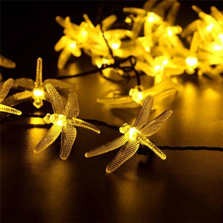 ソーラークリスマスライト19.7ft 30 led 8モードソーラートンボ妖精ストリングライトクリスマスパーティーの装飾屋外ソーラーランプ