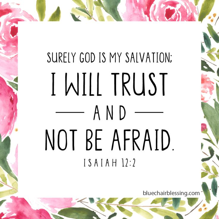Isaiah 12:2I Will Trust and Not be Afraid.