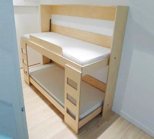 A common dilemma for expanding families in small spaces is what to do when the number of kids outpaces the number of bedrooms. Bunk beds are a popular and obvious solution, and rightly so. Going vertical is always a good option. But what if your small space cannot accommodate a traditional bunk bed setup? All is not lost. In fact, floor space is gained with the Double Murphy Bunk Bed.