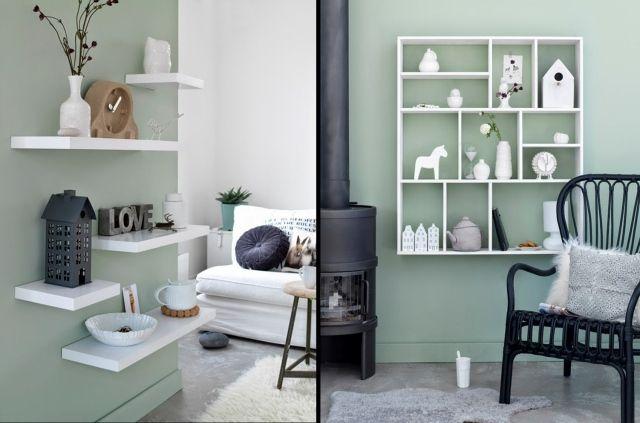 wohnzimmer streichen ideen salbeigrün weiße regale